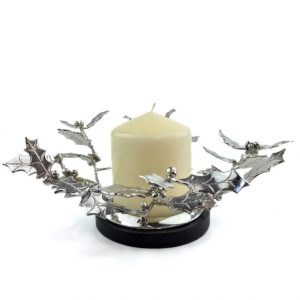 pewter and cast concrete base holly centrepiece with candle