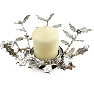 pewter and cast concret base holly centrepiece with candle